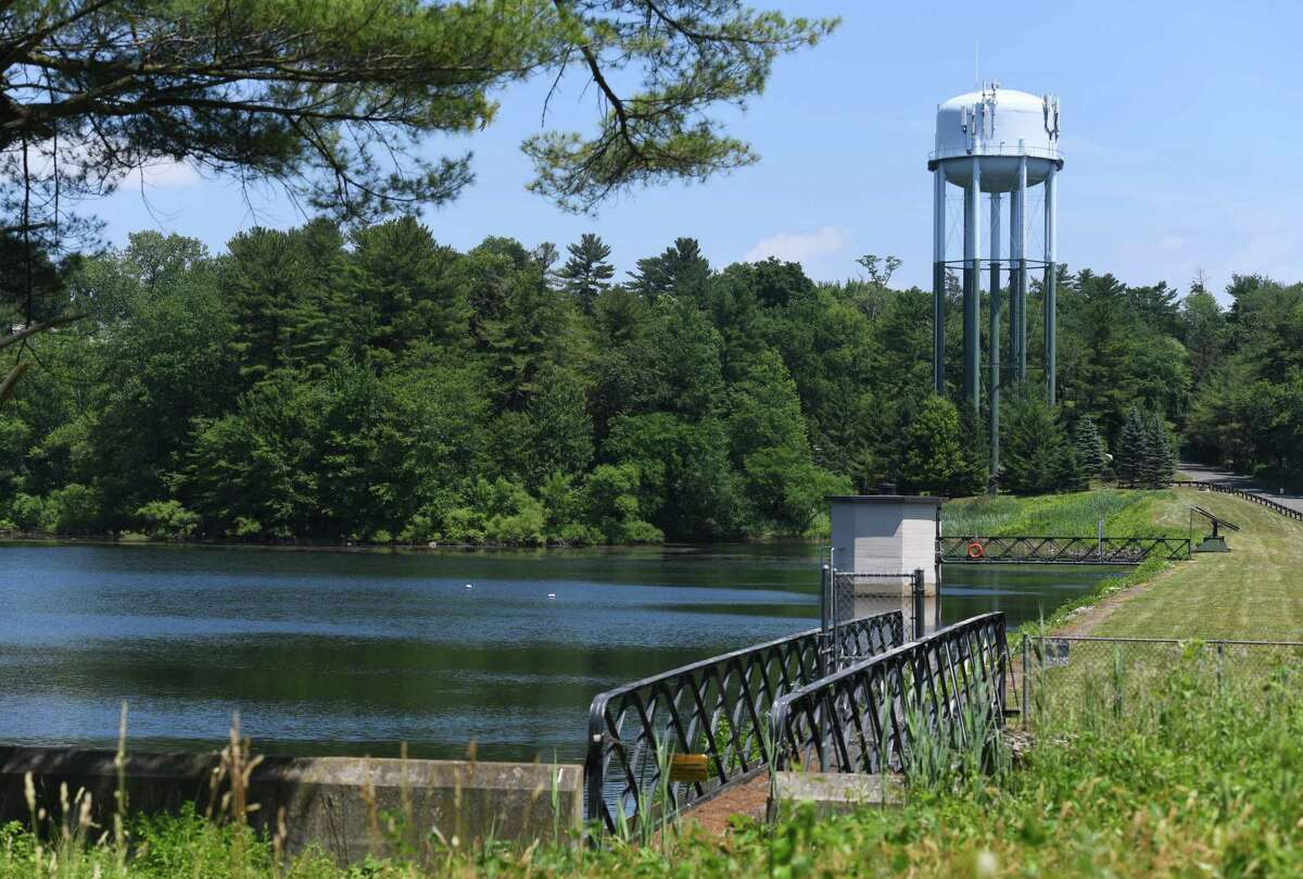 Putnam Reservoir in Greenwich last week. The town's reservoir levels are sinking and a drought is a very real possibility if residents do not curb their water usage on irrigation, the town said.