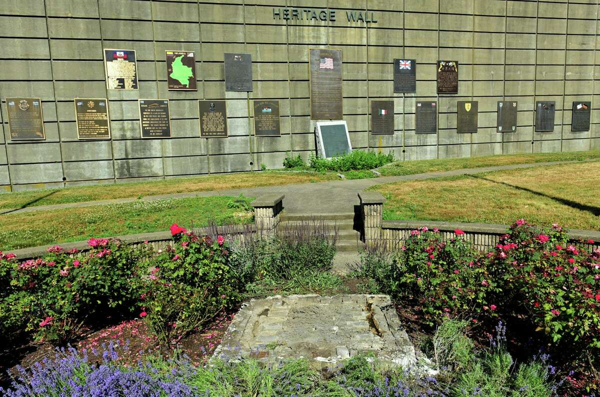 Heritage Wall at Thomas O'Connor Park Friday, June 26, 2020, where the statue of Christopher Colubus was removed he night previous in Norwalk, Conn. t