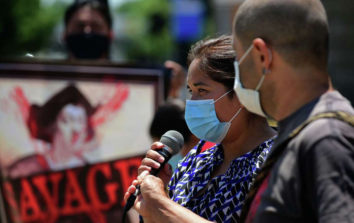 Carmen Lanche of the Latino United in Action (ULA) speaks at a press conference at Heritage Wall Friday, June 26, 2020, following the removal of the Columbus statue in Norwalk, Conn.