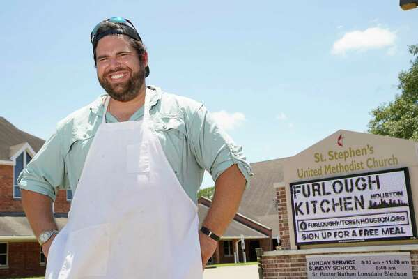 Rev. Nathan Lonsdale Bledsoe is shown at St. Stephen's United Methodist Church, 2003 W. 43rd St., Thursday, June 18, 2020, in Houston. Furlough Kitchen Houston offers free meals by reservation for curbside pick-up. So far, the church has provided about 1,400 free meals to the community.