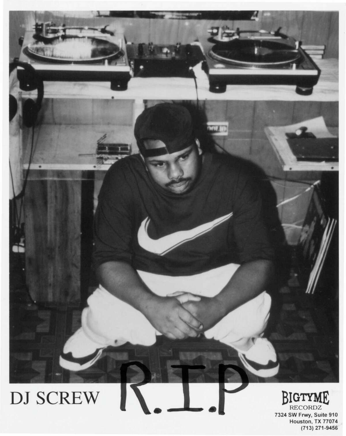 DJ Screw publicity photo with R.I.P. written on it w/ marker, four days after he died.