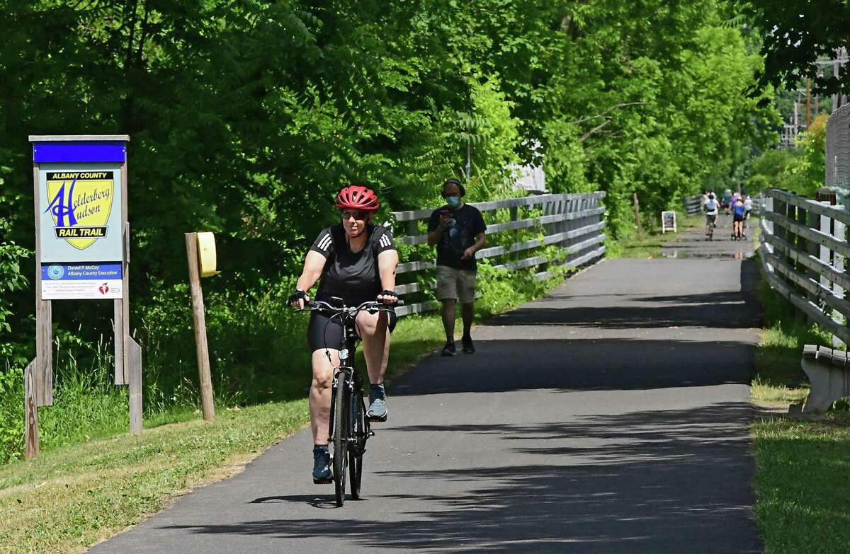 People use the Albany County Helderberg-Hudson Rail Trail on Friday, June 26, 2020 in Delmar, N.Y. Albany County Executive Daniel McCoy announced that for the first time, food and refreshment vendors will be able to sell their products along the nine-mile stretch of the Albany County Helderberg-Hudson Rail Trail through food trucks, carts or temporary stands. (Lori Van Buren/Times Union)