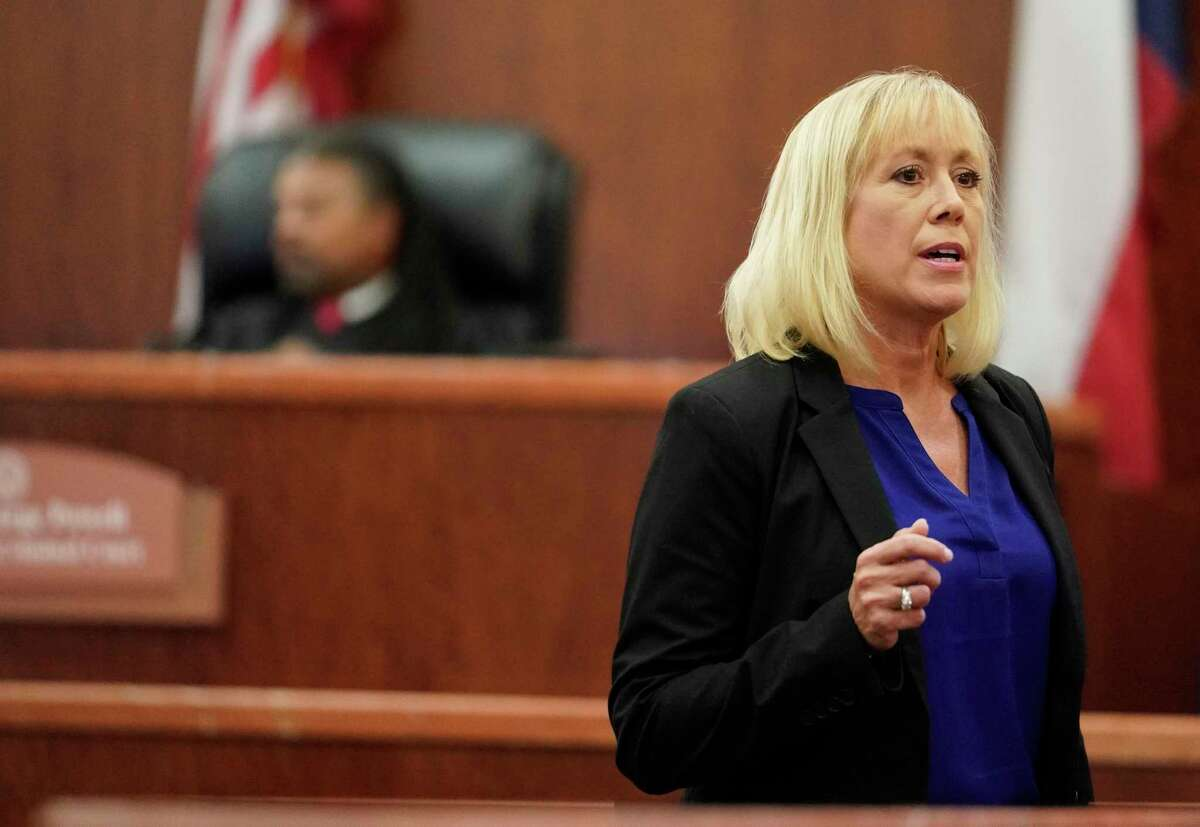 Kaylynn Williford, prosecutor, speaks during the sentencing phase for Ronald Lee Haskell Thursday, Oct. 11, 2019 in Houston. Haskell was convicted of capital murder in the 2014 massacre that killed six of his ex-wife's family members in Spring.