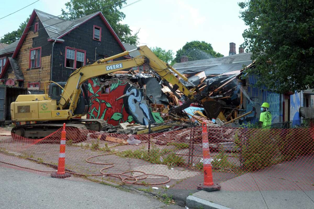Demolition began Friday on a blighted convenience at the corner of Newfield Ave. and Revere St., in Bridgeport, Conn. June 26, 2020.