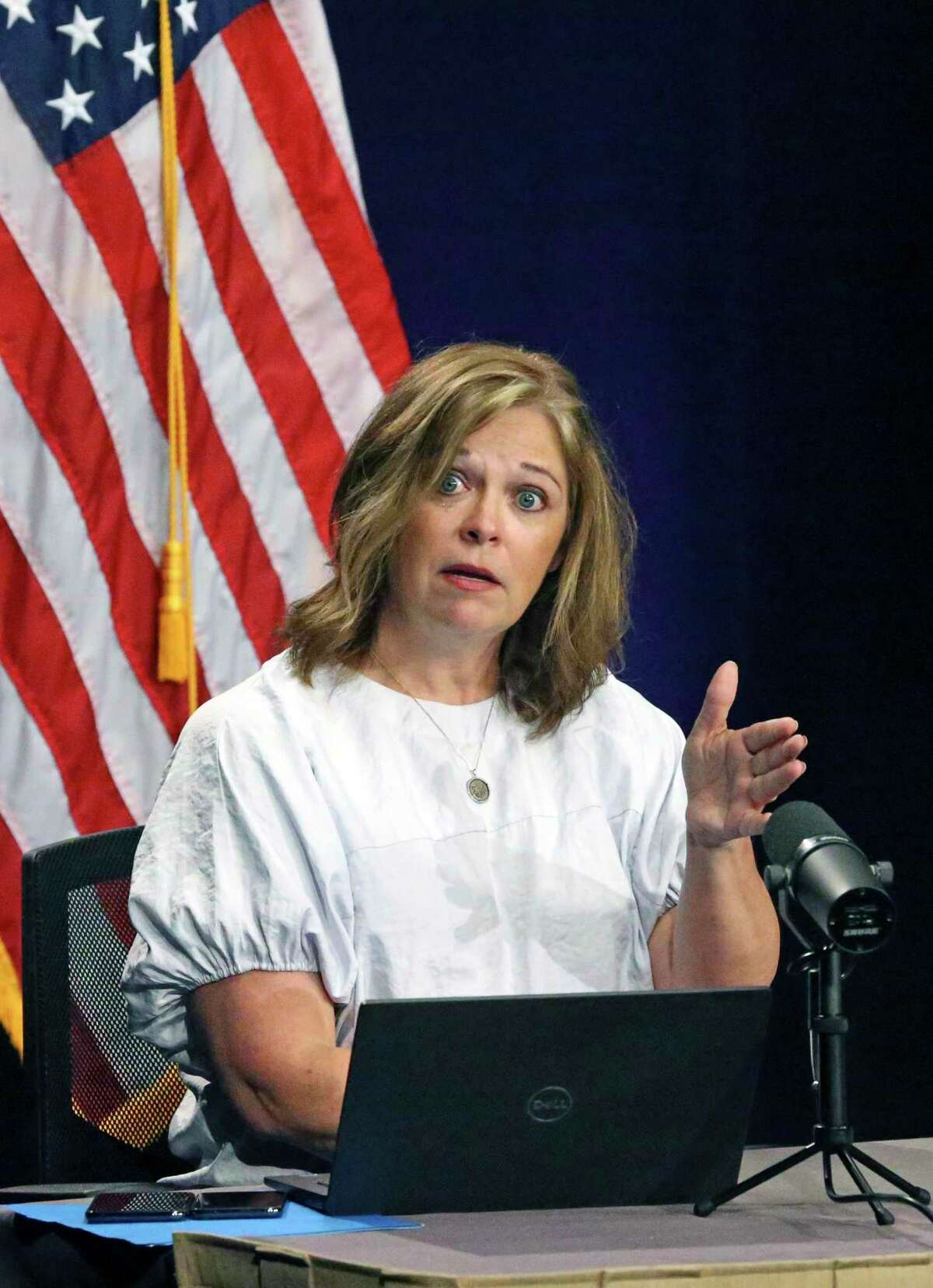 Metro health director Dawn Emerick makes a point as hospital administrators attend the daily COVID-19 briefing at Plaza de Armas on June 18, 2020.