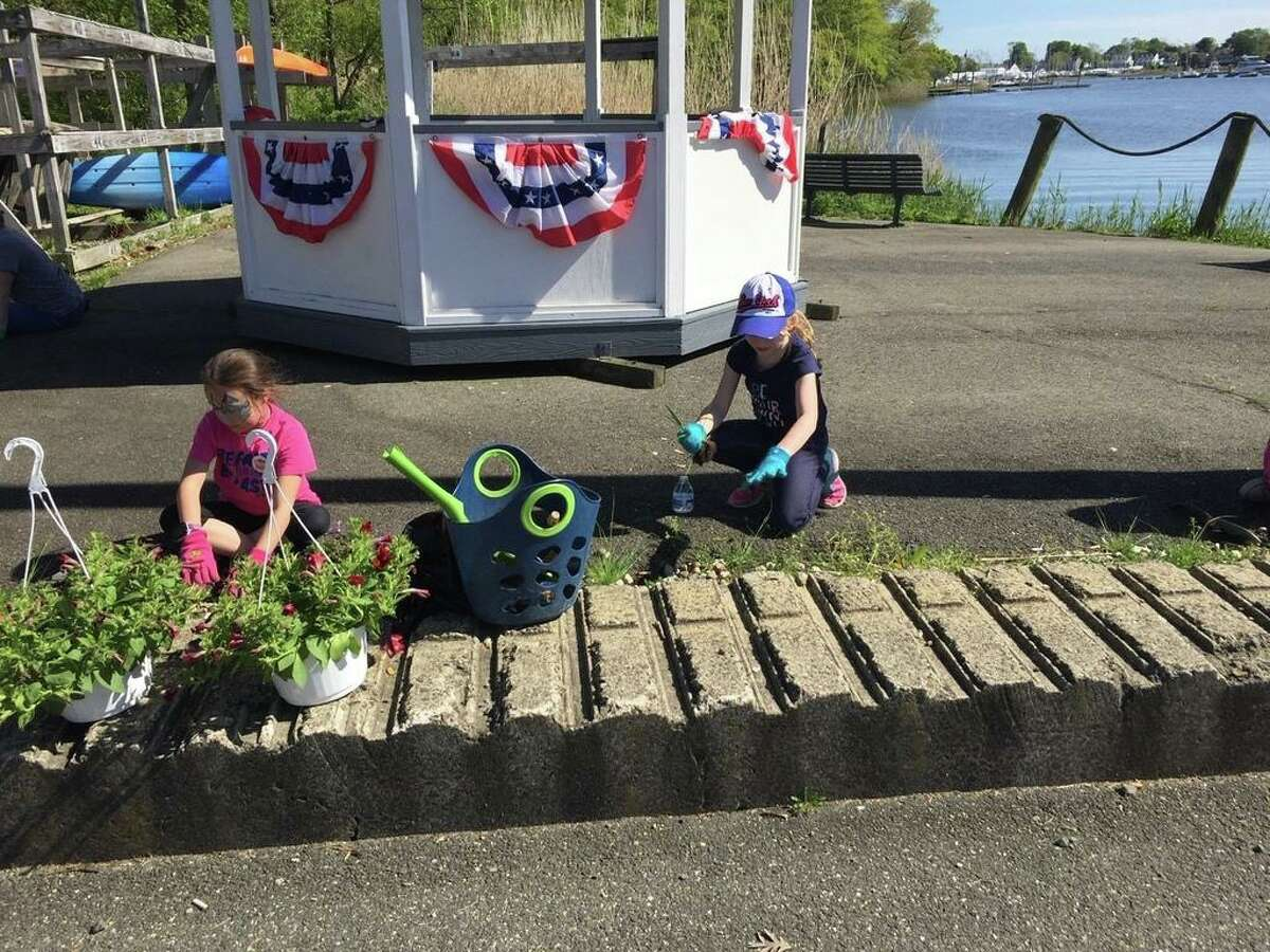 Caitlin Bennett does the planting while Kaylee Phelan does the weeding for Brownie Troop 38323.