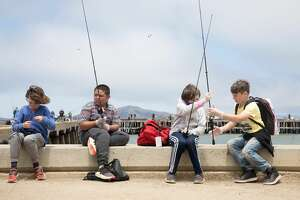 YMCA camp children prepare to fish at Torpedo Wharf. The children were taking part in a YMCA summer camp in the Presidio in San Francisco Calif. on June 26,2020.