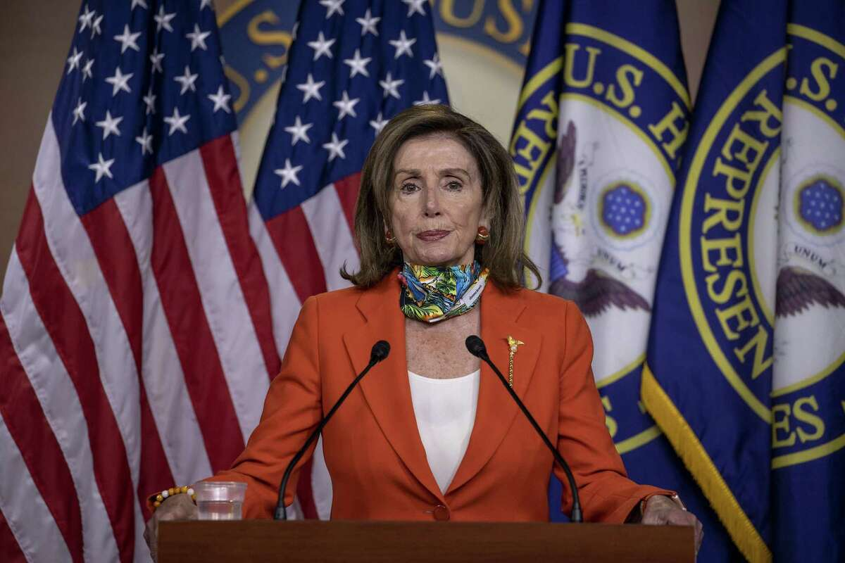 WASHINGTON, DC - JUNE 26: Speaker of the House Nancy Pelosi (D-CA) speaks at her weekly press conference on Capitol Hill on June 26, 2020 in Washington, DC. Pelosi spoke about the Police Bill and DC Statehood. (Photo by Tasos Katopodis/Getty Images)