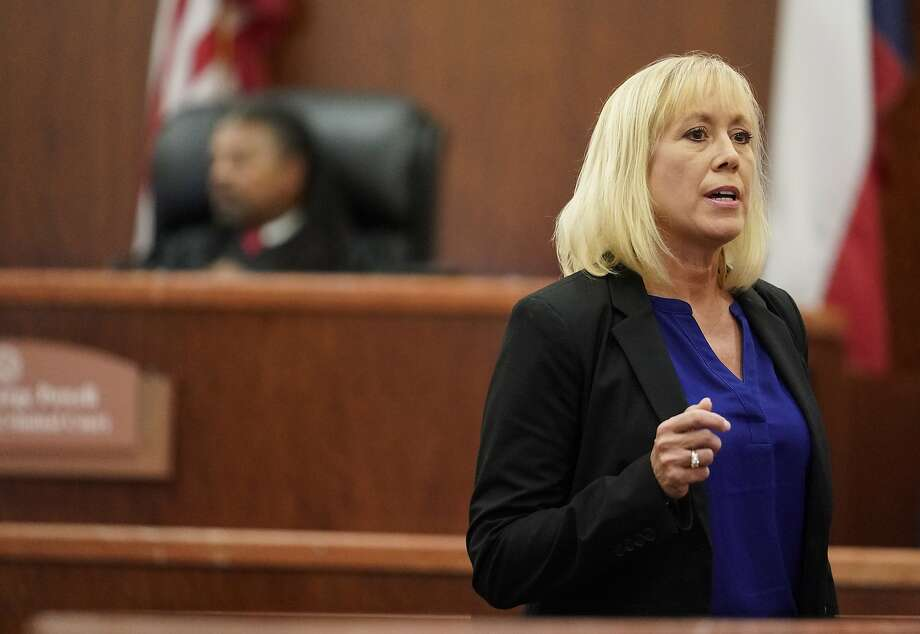 Kaylynn Williford, prosecutor, speaks during the sentencing phase for Ronald Lee Haskell Thursday, Oct. 11, 2019 in Houston. Haskell was convicted of capital murder in the 2014 massacre that killed six of his ex-wife's family members in Spring. Photo: Melissa Phillip, Staff Photographer
