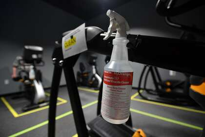 Disinfectant spray has been attached to a machine at Sonoma Fitness in Petaluma.