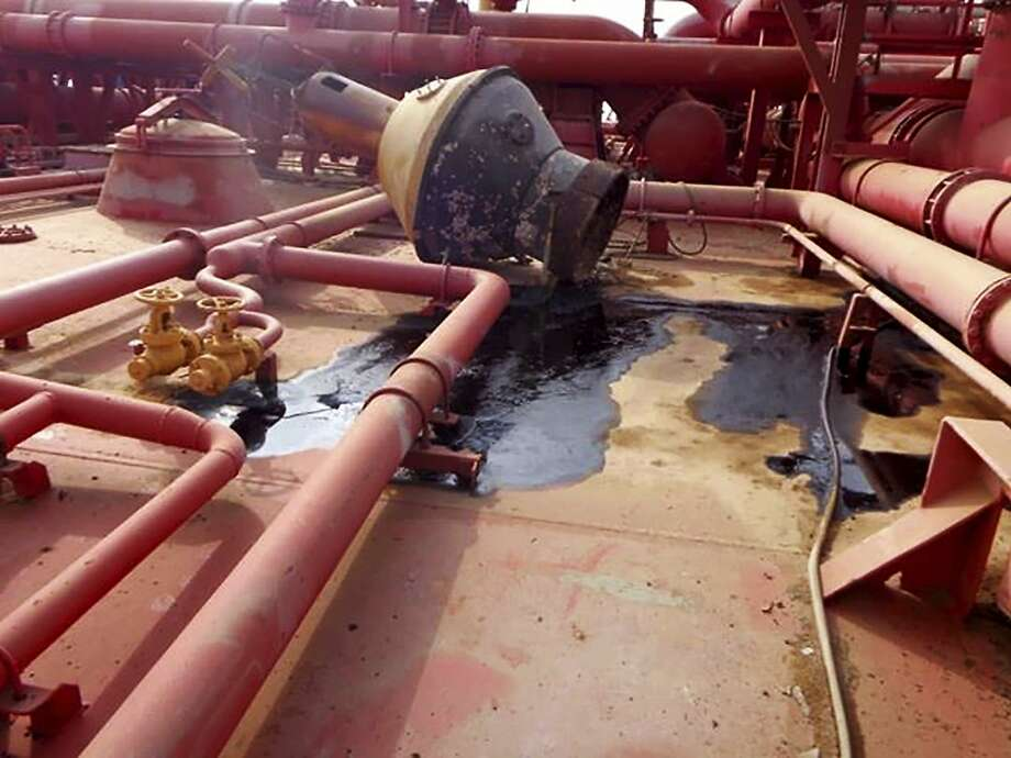 This image provided by I.R. Consilium taken in 2019, shows the deck of the FSO Safer, indicating the lack of basic maintenance for several years, leading to incidental smaller spills, moored off Ras Issa port, Yemen. Photo: Associated Press