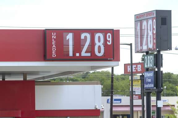 As the COVID-19 coronavirus continues to drag the economy toward depression Thursday, April 16, 2020, the Murphy Express in the 12000 block of Perrin Beitel Road advertises regular unleaded gasoline for $1.289 per gallon.
