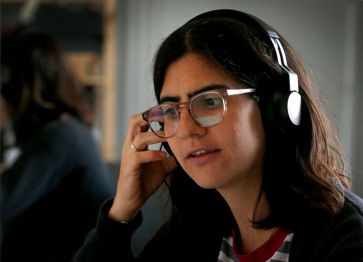 Lucia Abascal interviews COVID-19 patients from her home while working as a contract tracer in San Francisco, Calif. on Thursday, June 25, 2020.