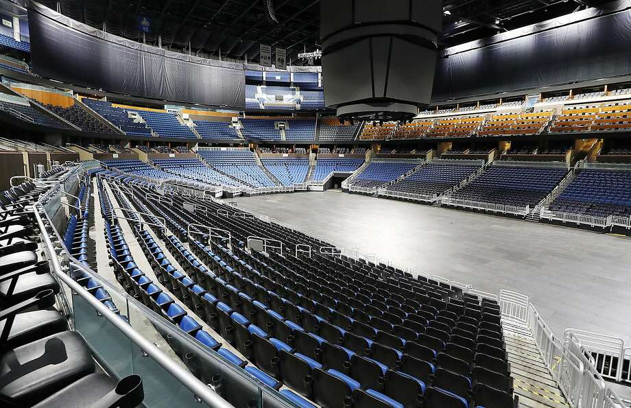 The seats are empty at the Amway Center in Orlando, home of the NBA's Orlando Magic, on Thursday, March 12, 2020. (Stephen M. Dowell/Orlando Sentinel/TNS) Photo: Stephen M. Dowell, TNS