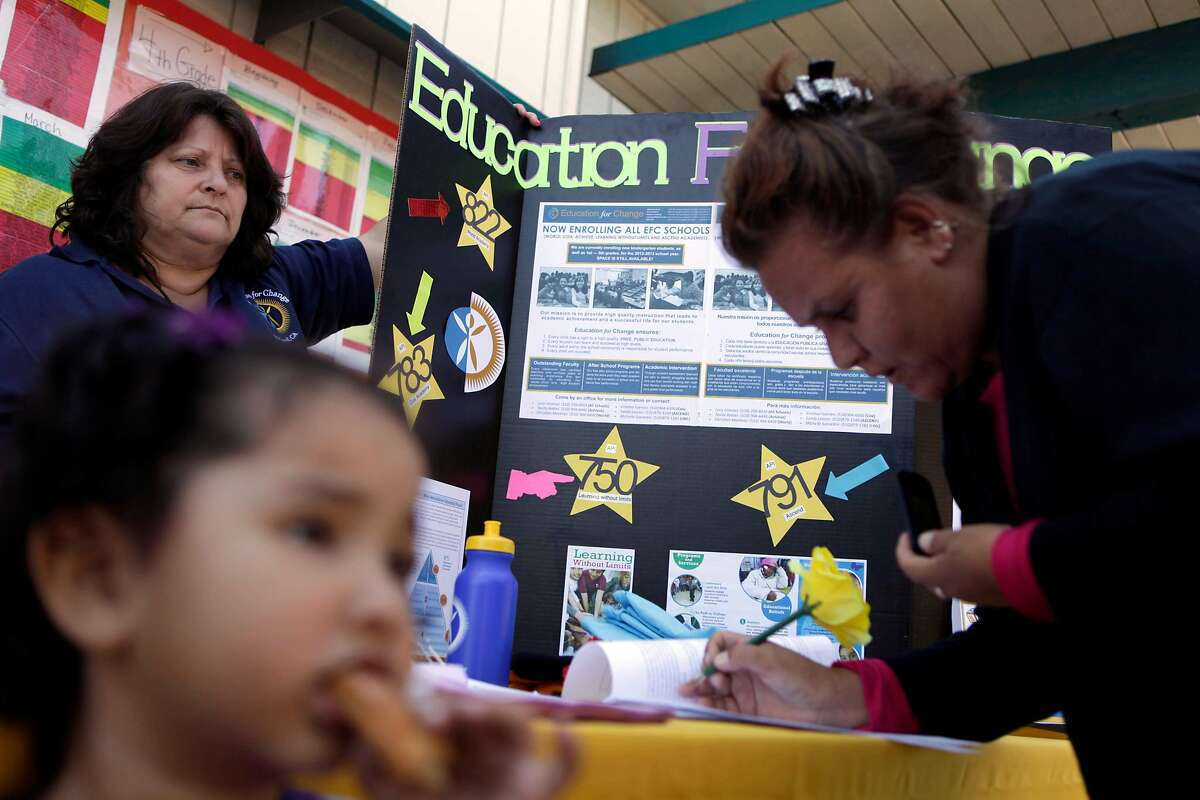 Lazear Elementary School parent Maria Gutierrez (right) signs up her children for after school program at a booth for Education for Change which is seeking to set up a charter school at Lazear Elementary School on Wednesday, June 13, 2012 in Oakland, Calif.