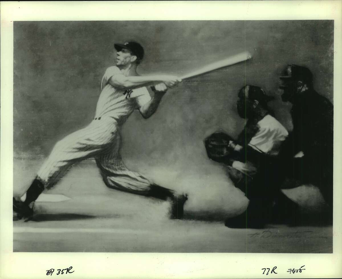 """The """"Best of the Smithsonian"""" exhibit examines the enduring mystique of the national game. Here Harvey Dinnerstein's 1974 painting, """"The Wide Swing, depicts mighty Joe DiMaggio taking his turn at bat."""