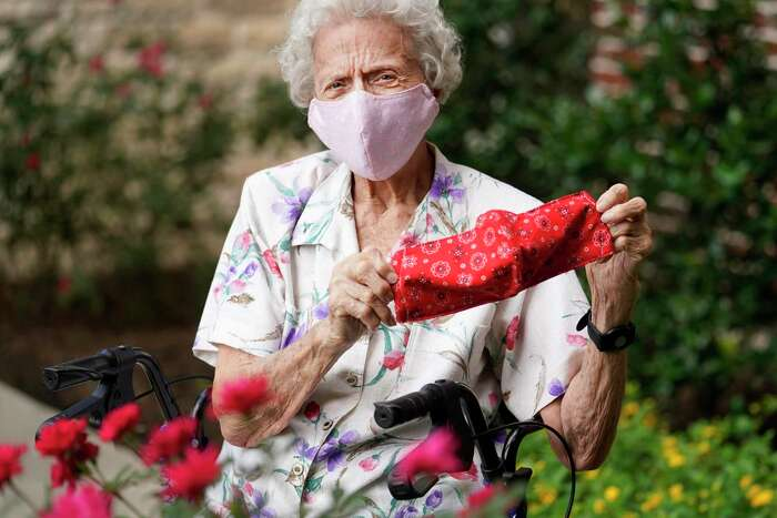 Bernice Wallace, 93, has made between 200-300 masks amid the Covid-19 pandemic shown at Watercrest Senior Living Thursday, May 21, 2020, in Pearland. She is part of a quilting group that also make items for the breast cancer group at Clear Lake Hospital.
