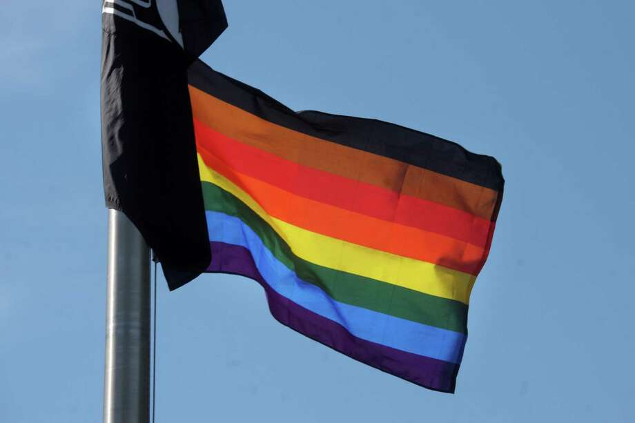 Rainbow pride flag for Pride Month Photo: Ned Gerard / Hearst Connecticut Media / Connecticut Post