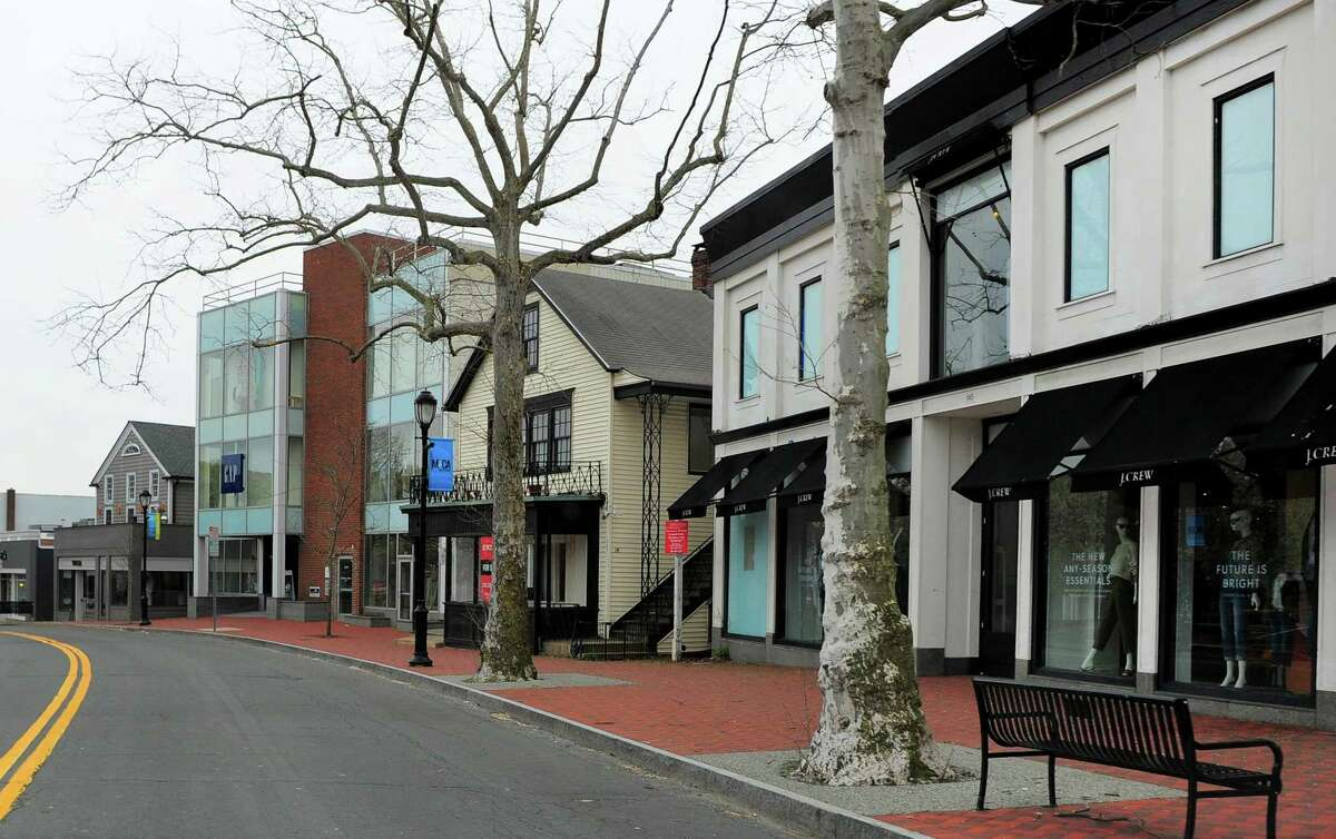 Closed businesses along Main Street in Westport, Conn., on Friday Apr. 17, 2020. Westport saw 569 out-of-state change of address requests between March, when the pandemic first hit the area, and the beginning of June.