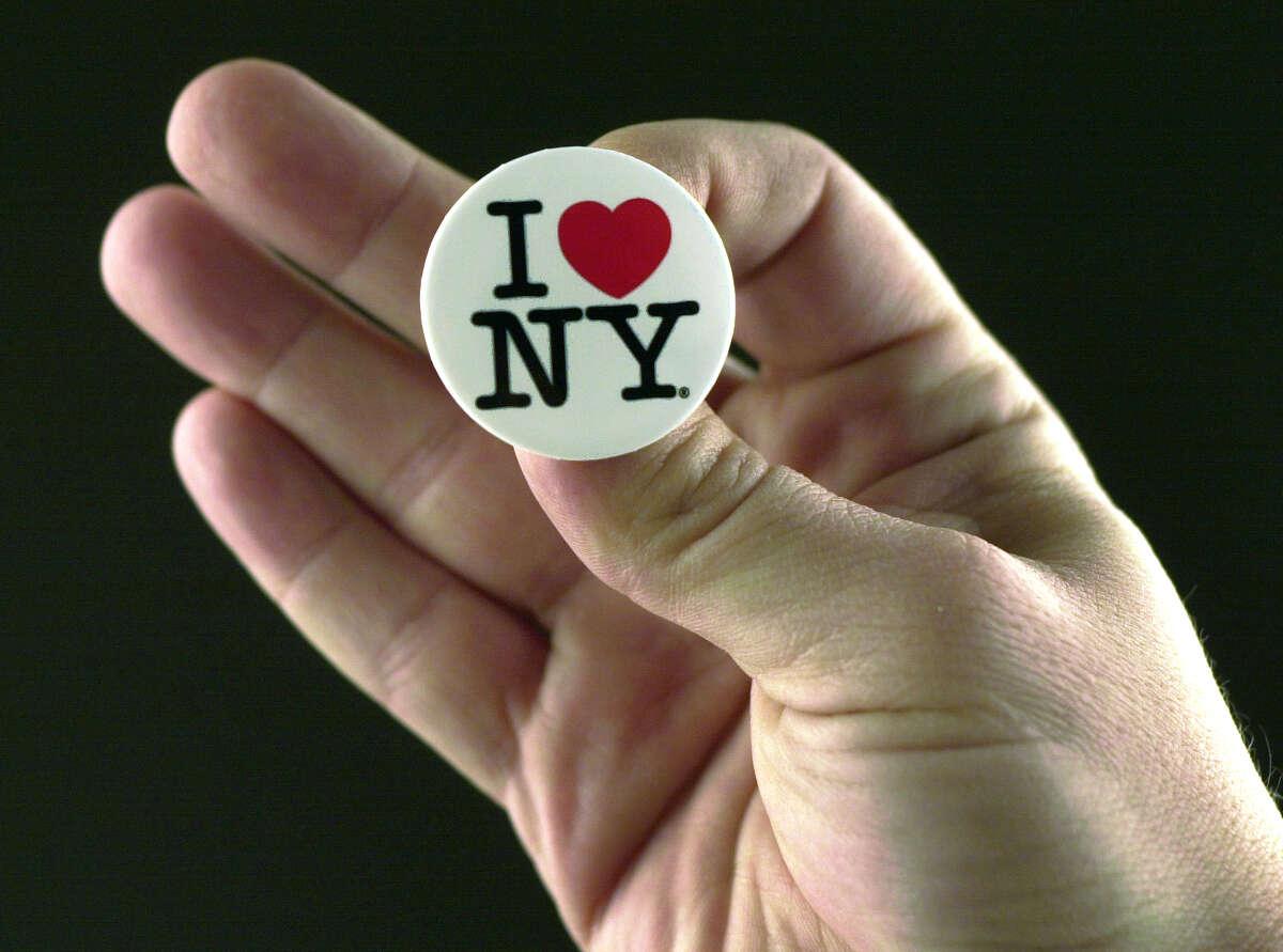 Times Union Staff photo by Lori Kane -- An I love NY button on November 15, 2001.
