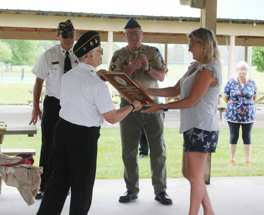 Barryton businesses were recognized Friday evening by the Gerald Pitts American Legion Post No. 473. During the event, 12 area businesses were given handmade plaques for the help and support they have given the post in the past. Photo: (Pioneer Photos/Catherine Sweeney)