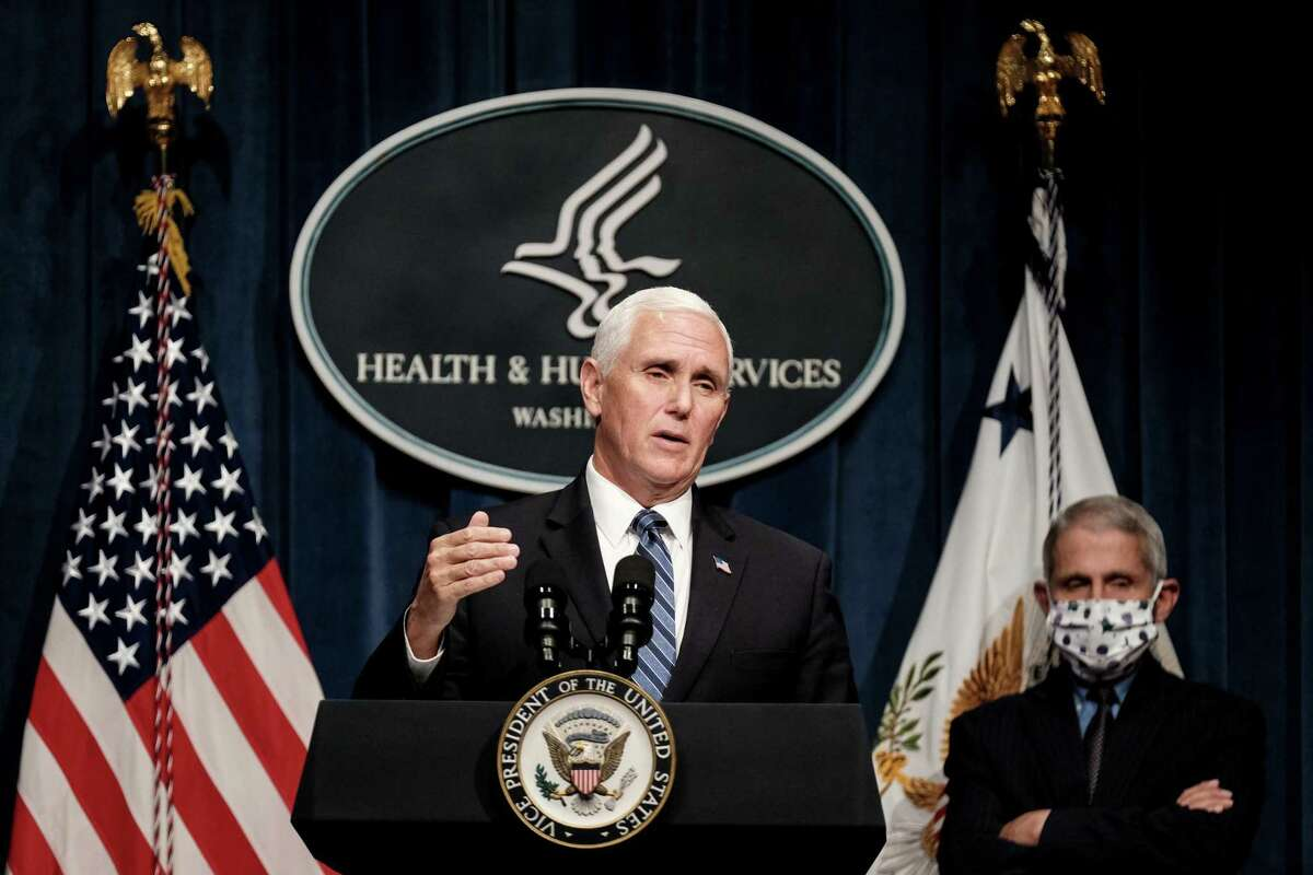Vice President Mike Pence speaks during a coronavirus task force meeting last week. Pence falsely claimed that increased testing is generating more cases, among other exaggerations and inaccurate claims.