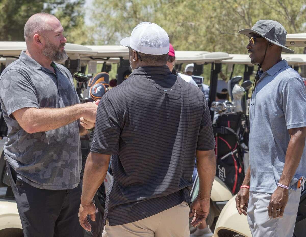 K.C. Jones, left, talks with playing partner Rodney Johnson and T.J. Glover 06/27/2020 at Hogan Park Golf Course during the Lee Rebel Golf Tournament. Tim Fischer/Reporter-Telegram