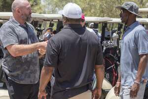K.C. Jones, left, talks with playing partner Rodney Johnson and T.J. Glover 06/27/2020 at Hogan Park Golf Course during the Lee Rebel Golf Tournament. Tim Fischer/Reporter-Telegram