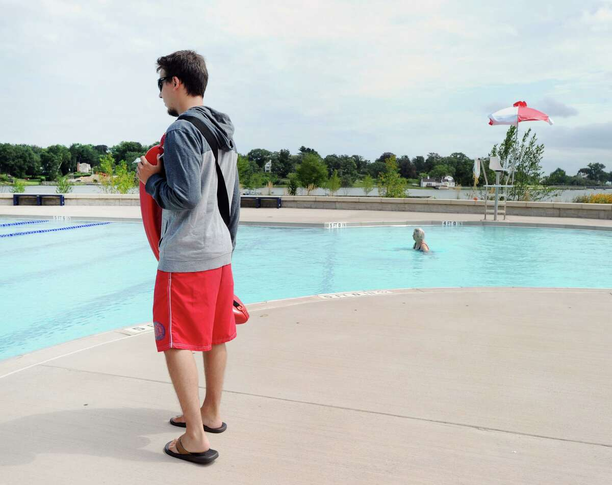 A lifeguard on duty at the Byram Park Pool in Greenwich, Conn., Friday, Aug. 31, 2018. The pool reopens Monday.