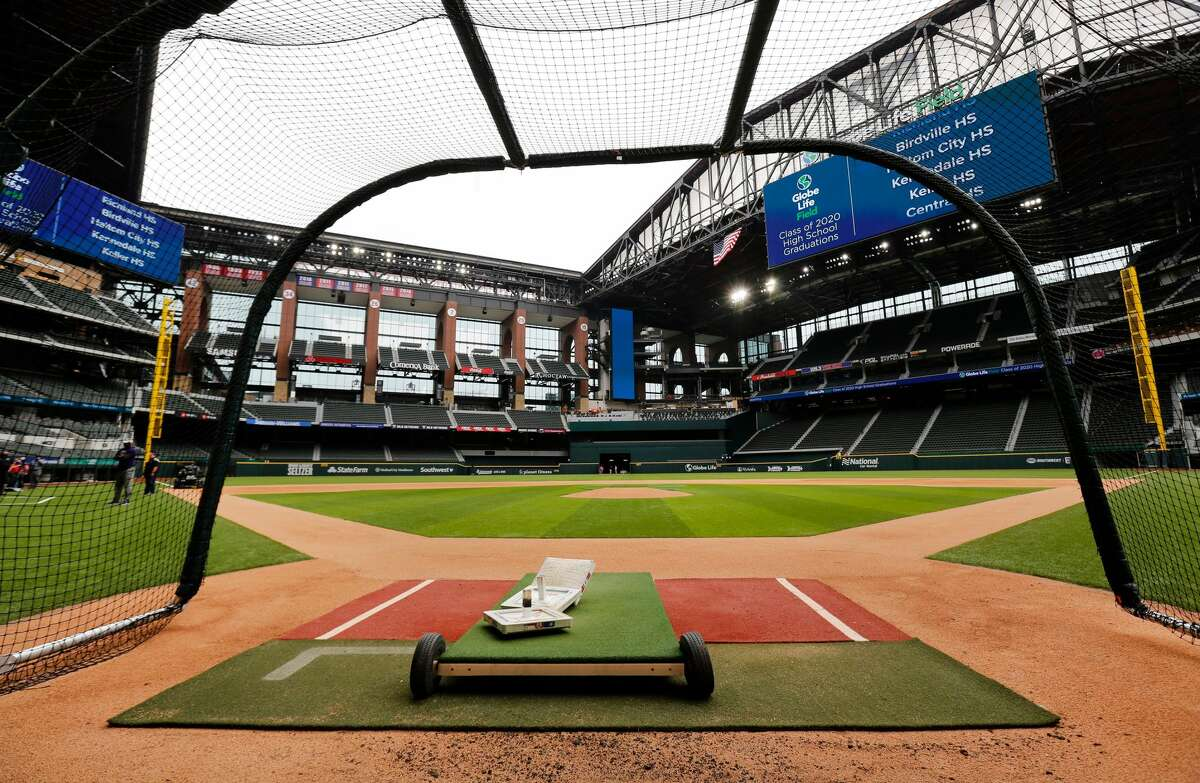 Texas Rangers players have been using a batting cage at the newly completed Globe Life Field in Arlington, pictured here on Wednesday, May 20 2020. The Rangers say they are drafting a plan to allow as many as 20,000 fans to attend games at Globe Life Field when the regular season begins next month. (Tom Fox/The Dallas Morning News/TNS)