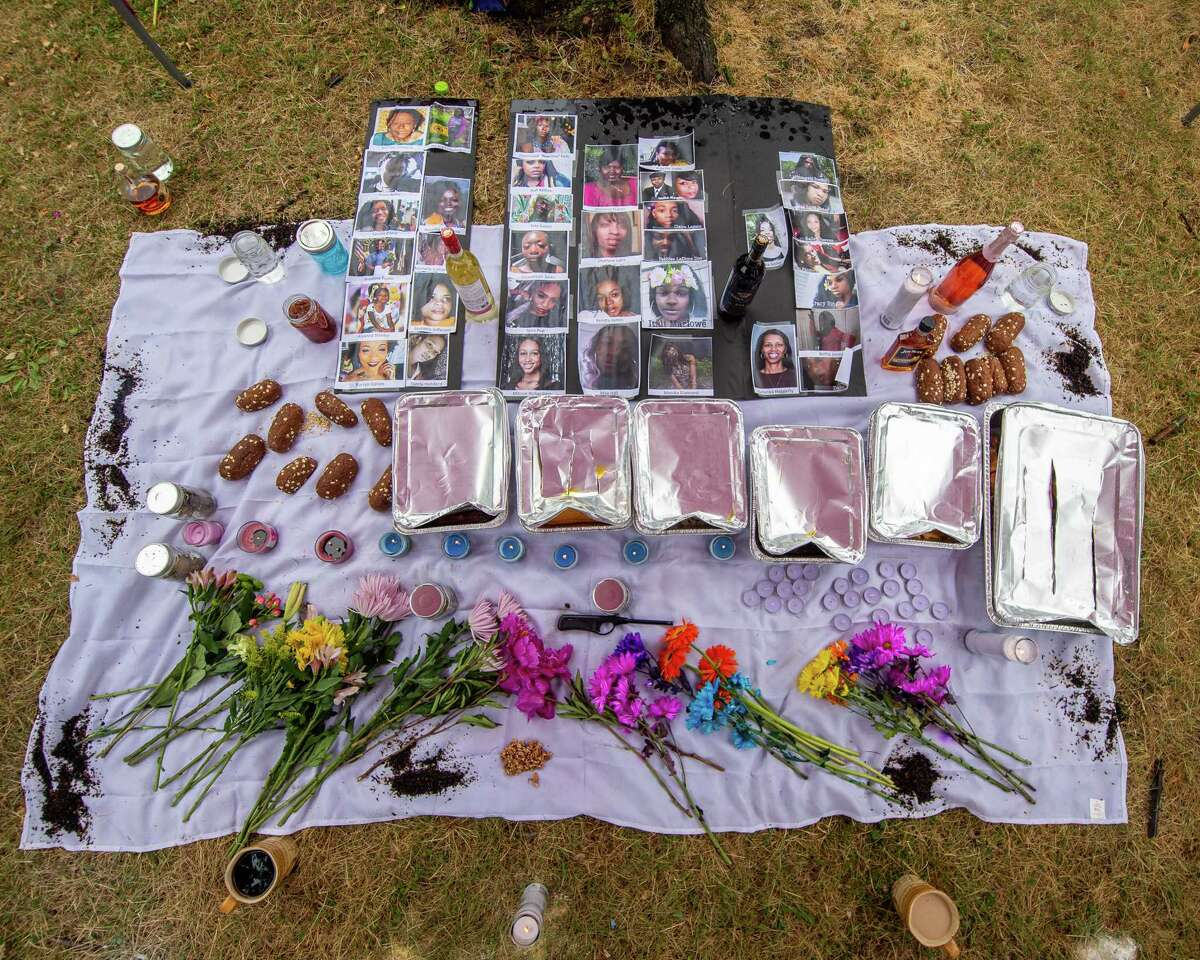 A memorial set up in Townsend Park in Albany NY during a #sayhername rally sponsored by Voix Noire and black femme and trans activists on Saturday, June 27, 2020 (Jim Franco/special to the Times Union.)