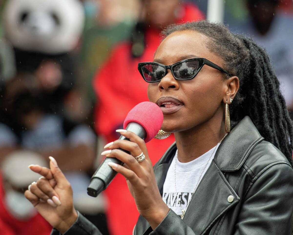 Nia Adams speaks during a #sayhername rally sponsored by Voix Noire and black femme and trans activists at Townsend Park in Albany NY on Saturday, June 27, 2020 (Jim Franco/special to the Times Union.)