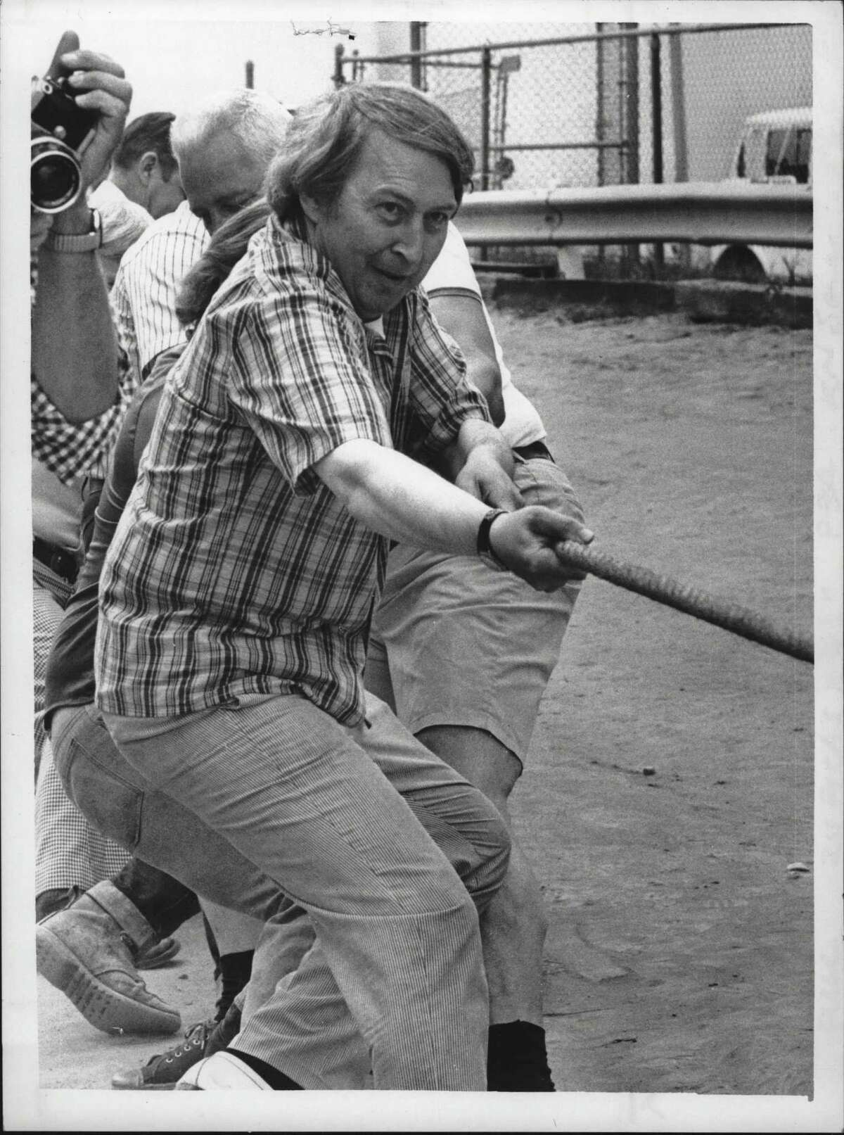 Raymond Walton Plays Tug-of-War, Saratoga County Fair. Saratoga County Fair. Raymond Watkin. Mayors Team - losers. July 28, 1977 (Paul Kniskern/Times Union Archive)