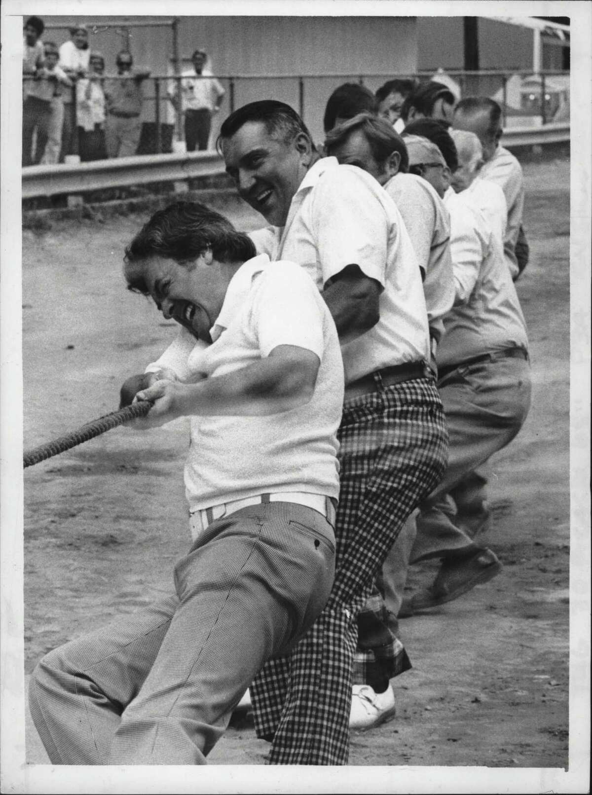 Fred McHeary and Men in Tug-of-War, Saratoga County Fair. Saratoga County Fair. Fred McNeary, John F. Dudek. Supervisors team - winners. July 28, 1977 (Paul Kniskern/Times Union Archive)