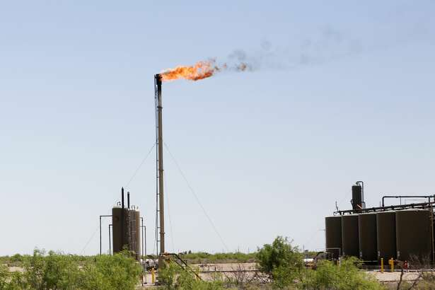 Flaring on a site near Orla, Texas on Wednesday, April 29, 2020.