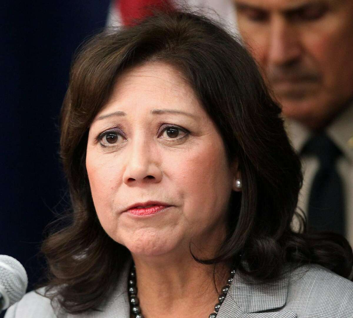 FILE - This Nov. 16, 2012 file photo shows Labor Secretary Hilda Solis speaking in Los Angeles. Solis has told colleagues she is resigning from Obama administration. (AP Photo/Richard Vogel, File)