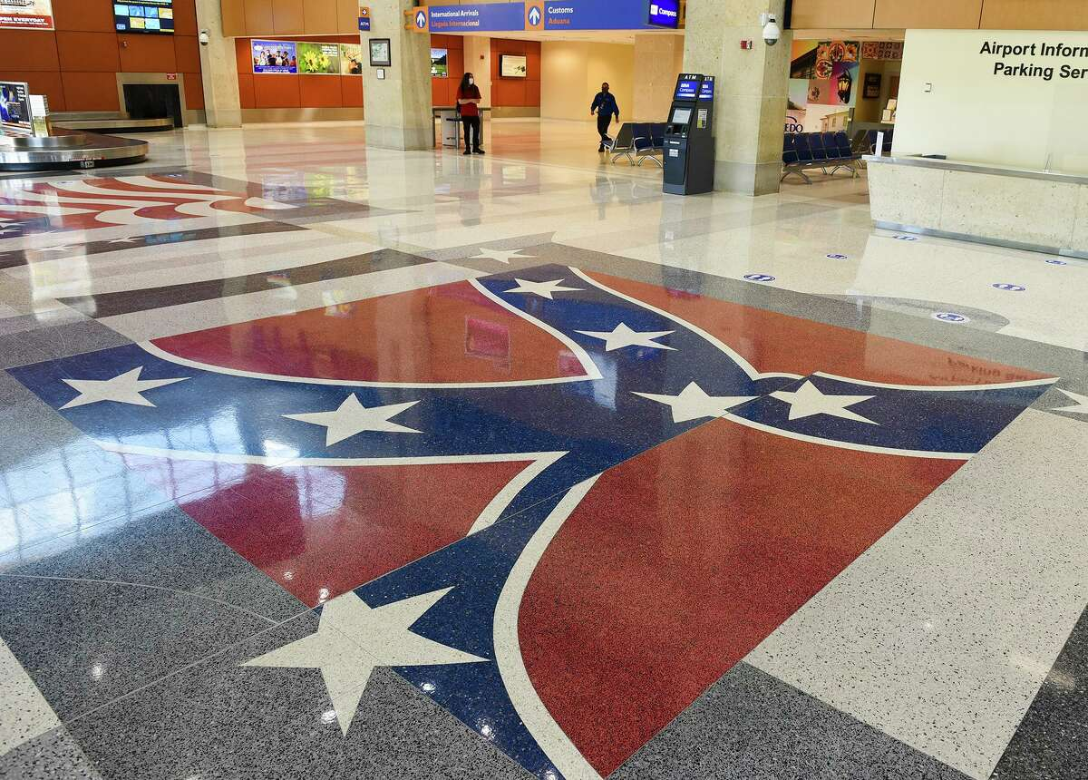 The Confederate flag is displayed on the tiles of the Laredo International Airport in this Monday, June 15 photo.
