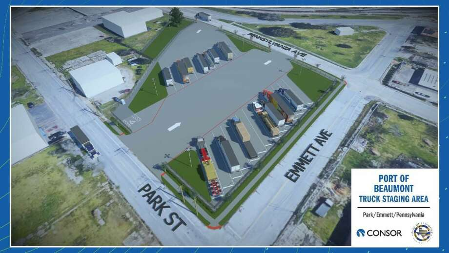 The Port of Beaumont will use a$1.57 million grant to construct a new truck staging area in downtown Beaumont, south of the Jefferson County Court House. Photo: Courtesy Of Port Of Beaumont