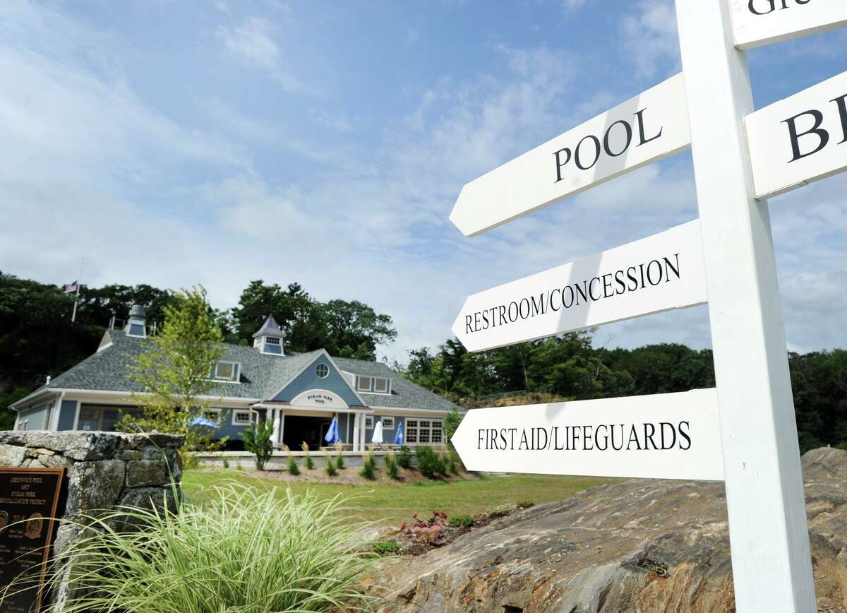 The Byram Park pool house, left, in Greenwich, Conn., Friday, Aug. 31, 2018. The pool reopens Monday.