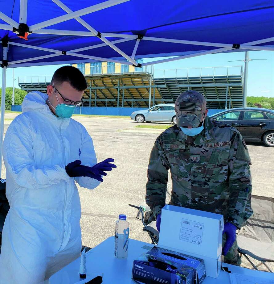 Manistee's free COVID-19 screening last week was conducted by a collaboration between the National Guard, District Health Department #10 and Michigan State Police. (File photo)