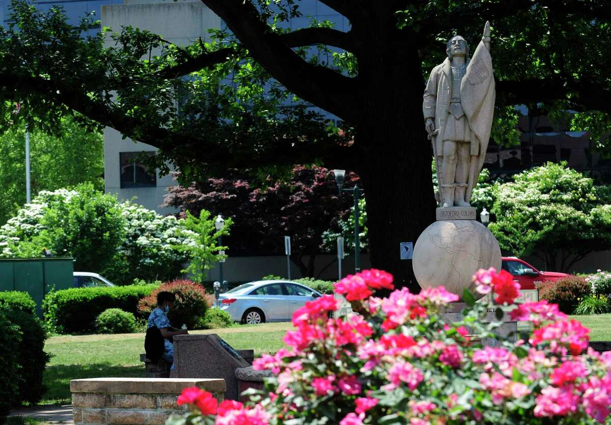 The city of Stamford has received numerous requests calling for the removal of the Christopher Columbus statue, shown here in a photograph taken on June. 19, at Columbus Park in Stamford.