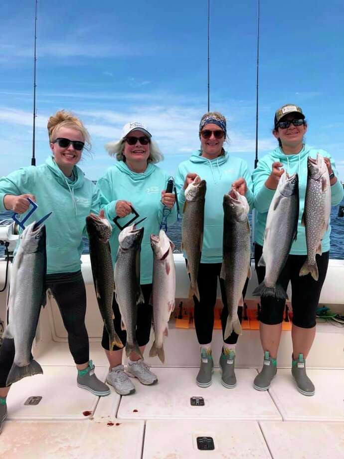 The O-Fish-L Business team showcased their catches Friday after the Ladies Classic portion of the tournament. The amateur team came in seventh place, according to the posted results on mcsfa.org. (Courtesy photo)
