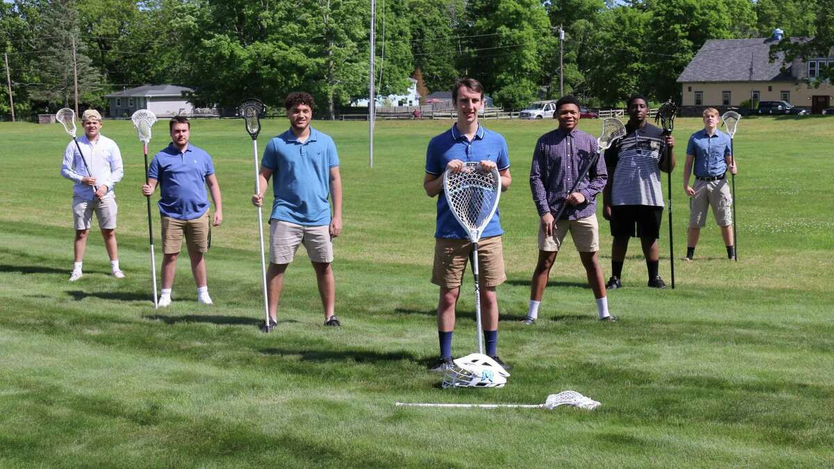 The seven Middletown lacrosse players who were denied a senior season, counter-clockwise from top left: Joe Chiappetta, Matteo Parent, Eric Byrd, Ethan Foligno, Kristian Glemaud, Justin Walker and Brady Foster.