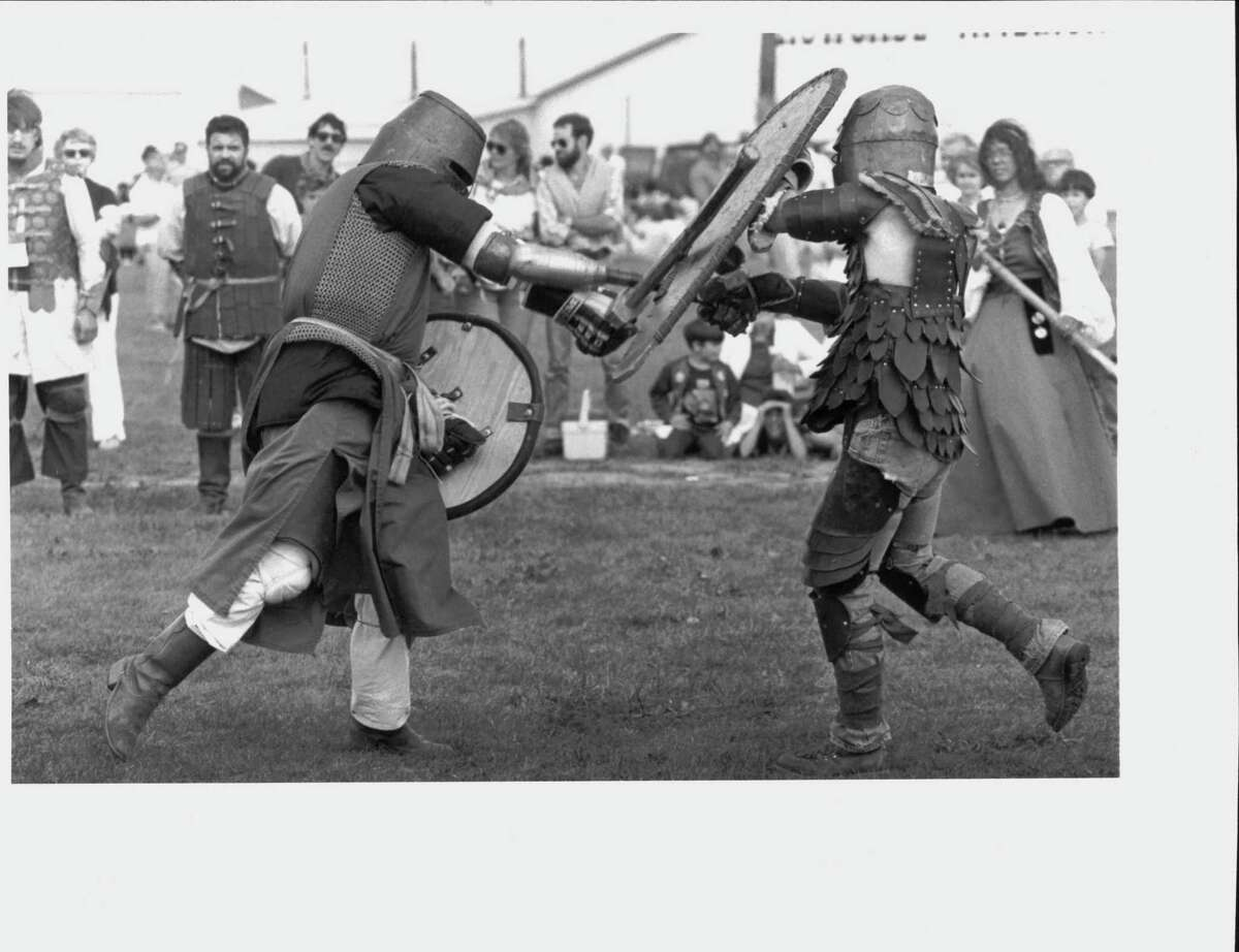 Society of Creative Anachronism at Scottish Games, New York. Altamont Fairground, Scottish Games. Members of the Society of Creative anachronism battle it out for a demonstration of ancient fighting skills. Sept.. 1, 1984 (Skip Dickstein/Times Union Archive)