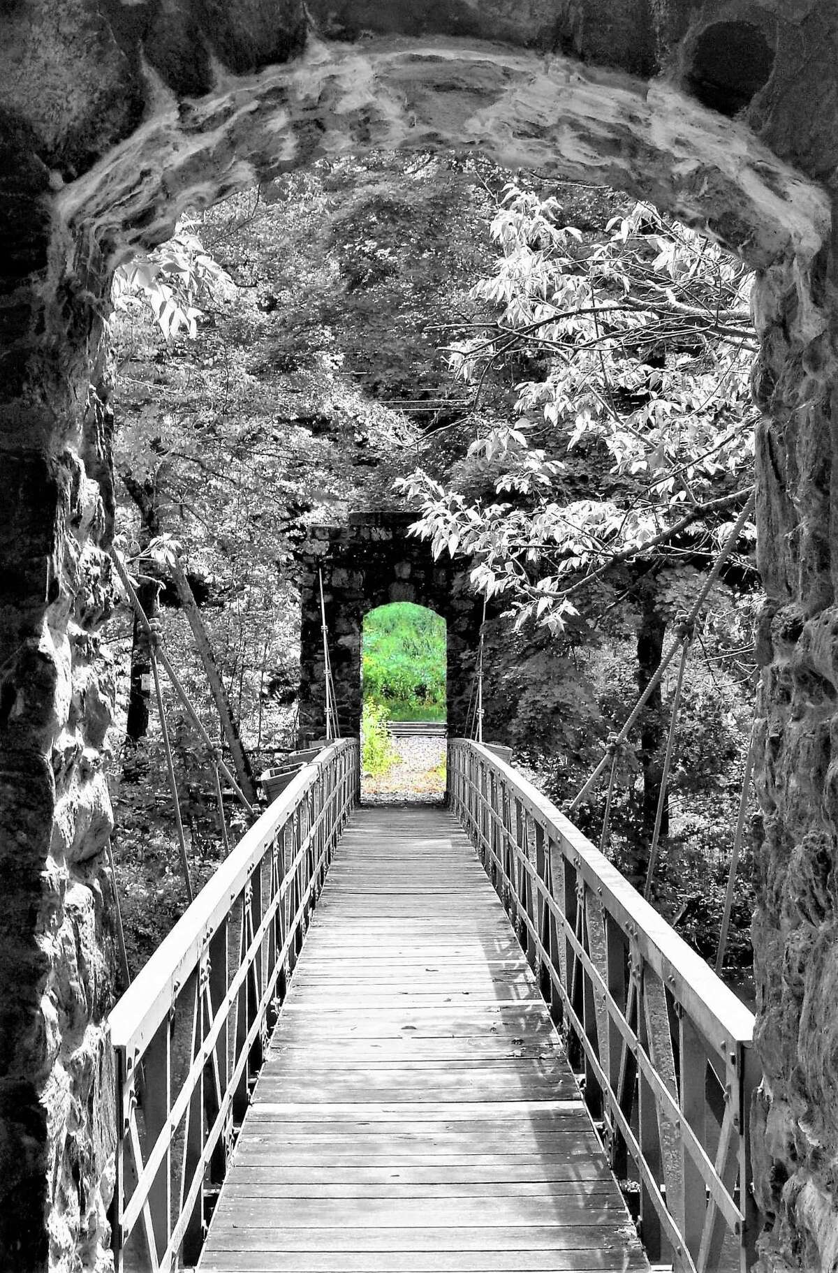 Steve Carnavos of Guildreland took this at the trail entrance to Laurel Hill in Stockbridge, Mass., Color is deleted to create the effect.