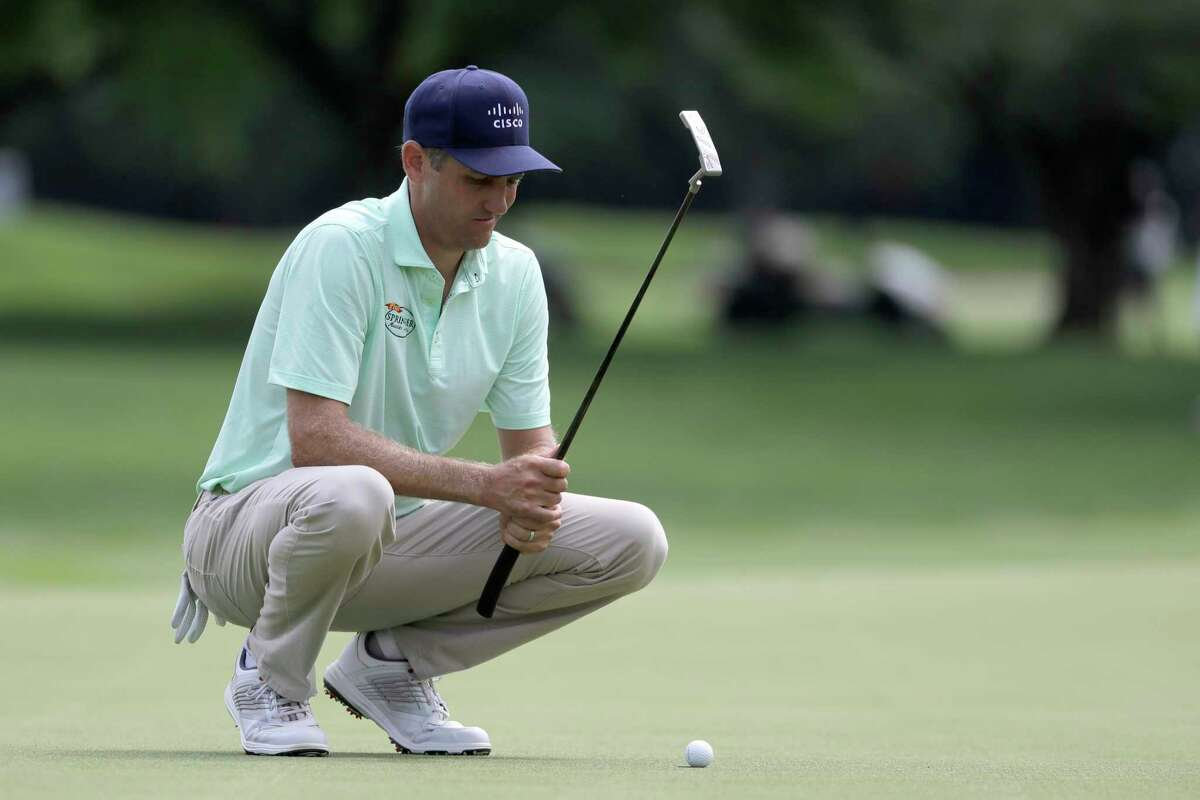 Brendon Todd lines up his shot on the fifth green during the final round of the Travelers Championship golf tournament at TPC River Highlands, Sunday, June 28, 2020, in Cromwell, Conn. (AP Photo/Frank Franklin II)