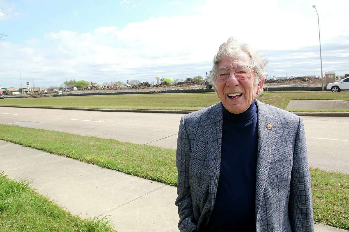 Mayor Leonard Scarcella stands across new constructions happening along W Airport Blvd at Stafford, TX. Photo by Pin Lim.