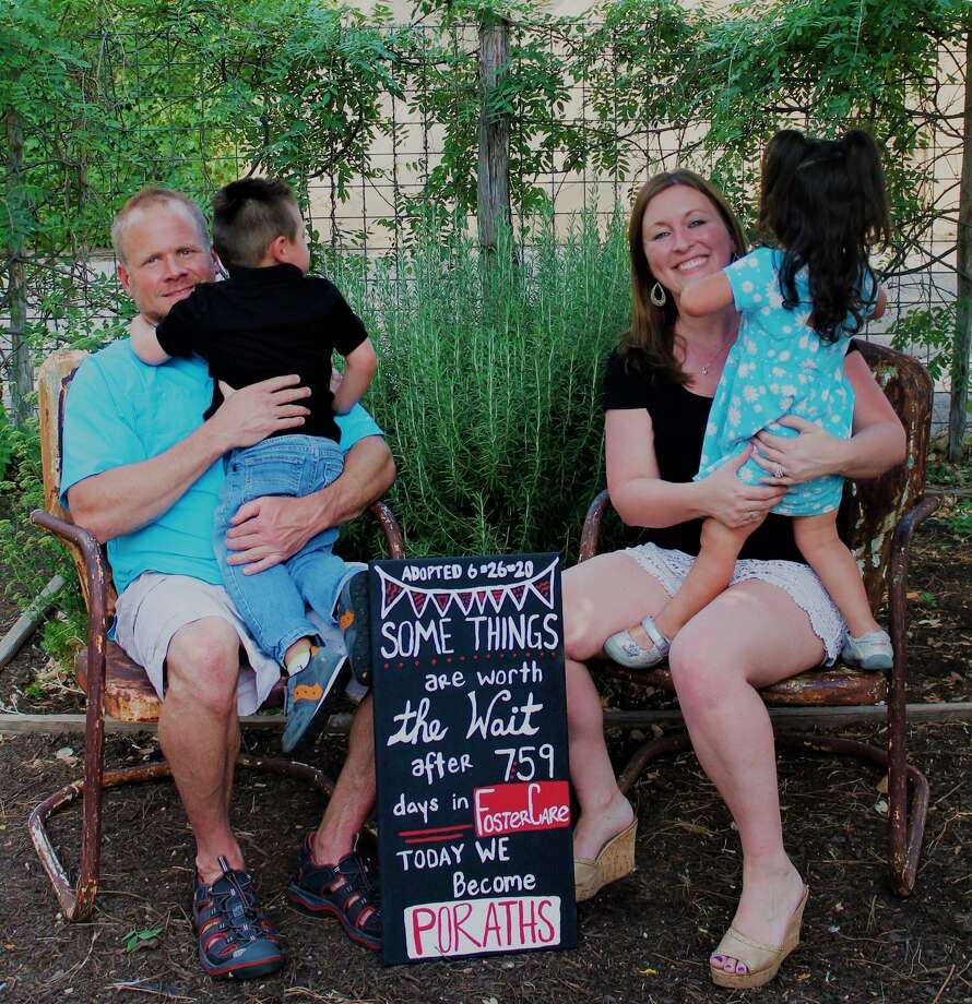 Teresa Porath and her husband, Adam, had been waiting for more than a year to adopt their two foster children, she said. After multiple setbacks, including the pandemic, the couple were finally able to adopt siblings Jonathan James and Morgan Marie on Friday in a Zoom hearing. Photo: Courtesy Of Lyndsey Carder