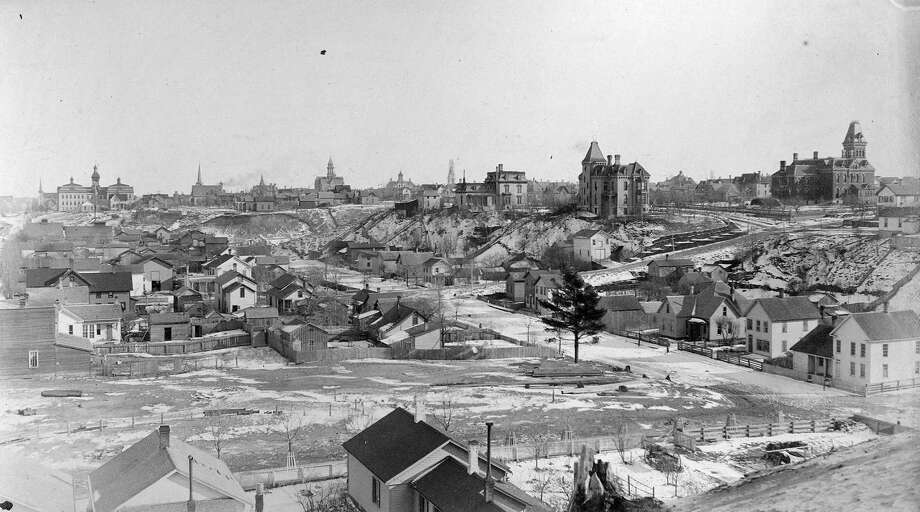 This 1880s view is from First Street looking back toward the City of Manistee.