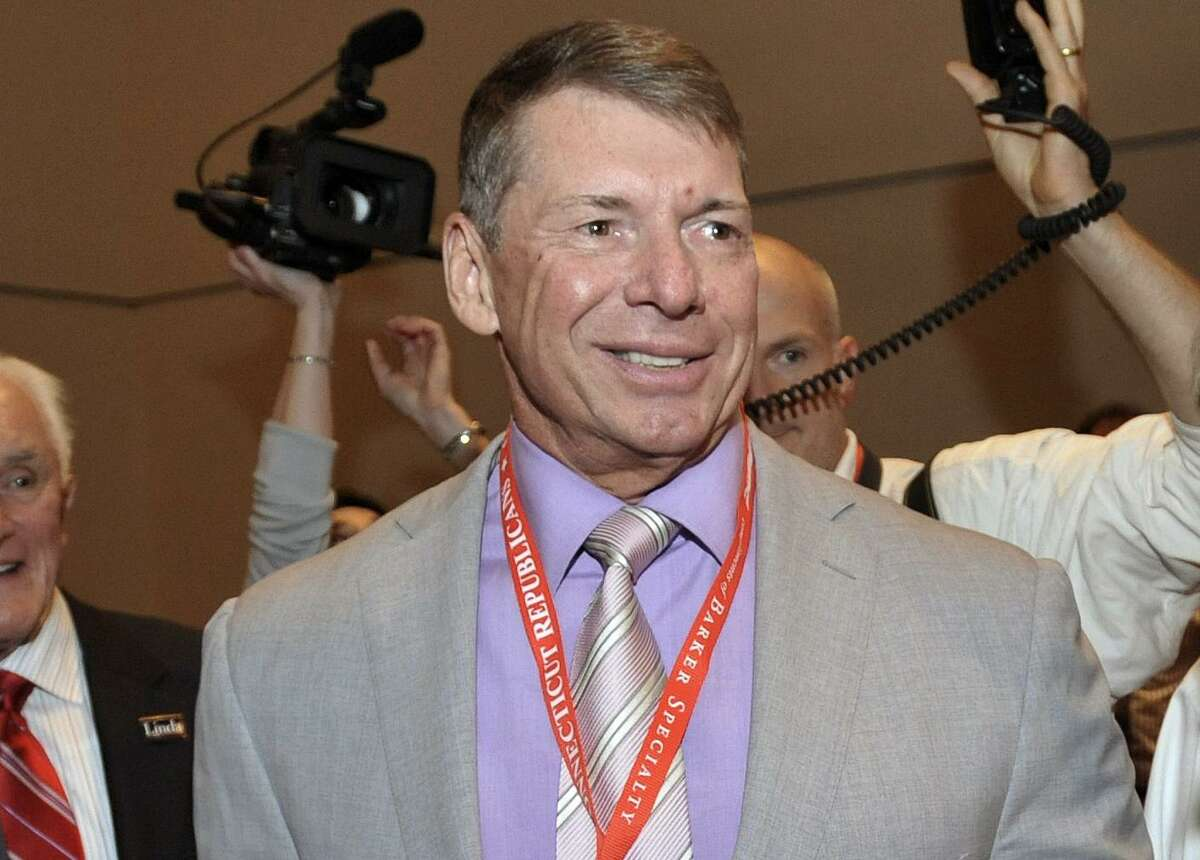 FILE - In this May 21, 2010, file photo, WWE Chairman and Chief Executive Officer Vince McMahon is shown at the Connecticut Republican Convention in Hartford, Conn. WWE announced Thursday, July 31, 2014, a new 10-year partnership with Rogers Communications in Canada that will launch the WWE Network as a traditional pay-TV channel in Rogers' cable systems, also starting Aug. 12.